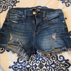 Express stretchy distressed high wasted jean short
